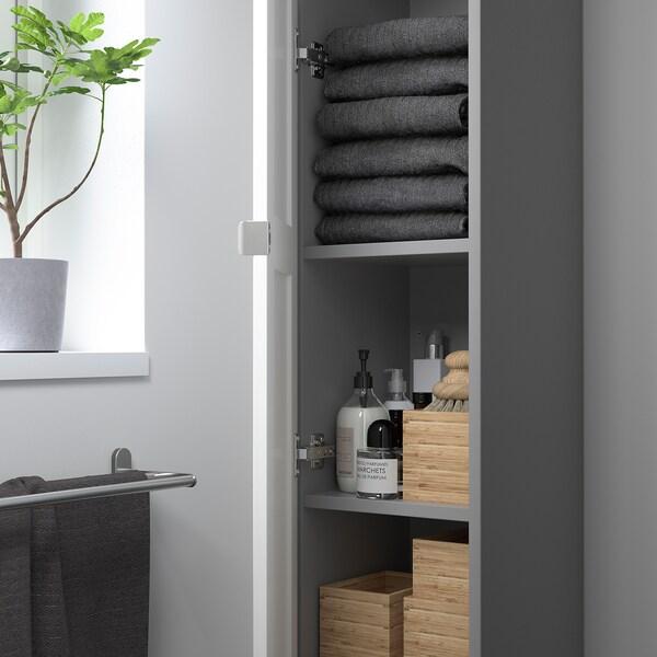 ENHET Élément haut 4 tablettes/porte, gris/blanc avec cadre, 30x32x180 cm