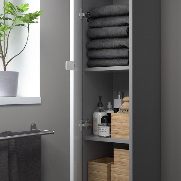 ENHET Élément haut 4 tablettes/porte, gris/brillant blanc, 30x32x180 cm