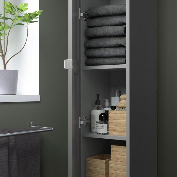 ENHET Élément haut 4 tablettes/porte, gris/caisson gris, 30x32x180 cm