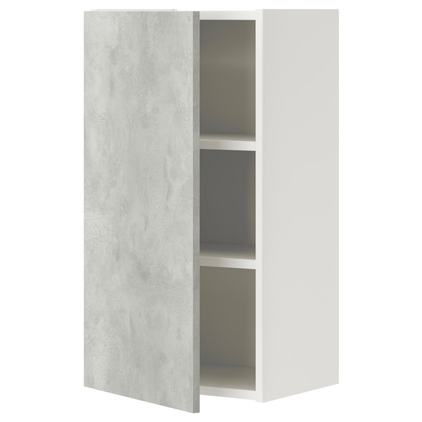 ENHET Élément mur av 2 tablettes/porte, blanc/imitation ciment, 40x32x75 cm