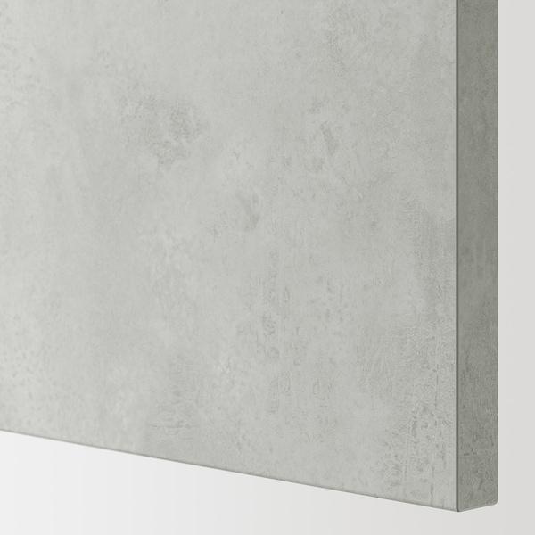 ENHET Élément mural 2 tablettes/portes, blanc/imitation ciment, 60x15x75 cm