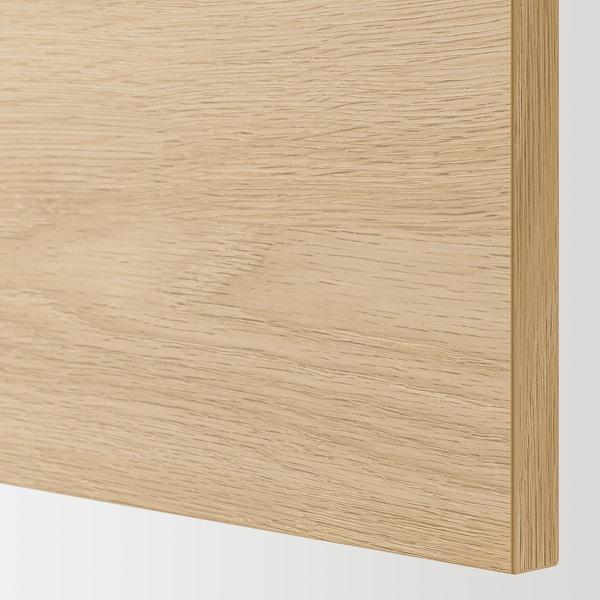 ENHET Élément mural 2 tablettes/portes, blanc/motif chêne, 60x15x75 cm