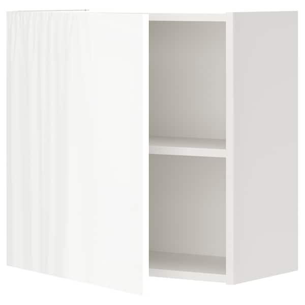 ENHET Élément mural av 1 tablette/porte, blanc/brillant blanc, 60x32x60 cm