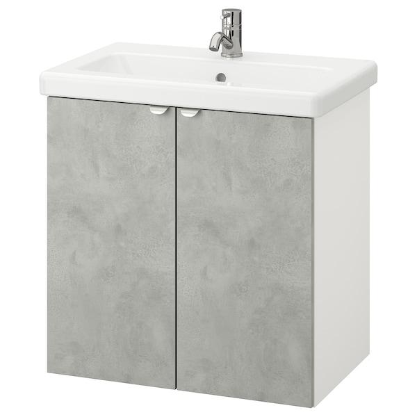ENHET / TVÄLLEN Élément lavabo à 2 portes, imitation ciment/blanc Pilkån mitigeur lavabo, 64x43x65 cm