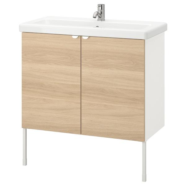 ENHET / TVÄLLEN Élément lavabo à 2 portes, motif chêne/blanc Pilkån mitigeur lavabo, 84x43x87 cm