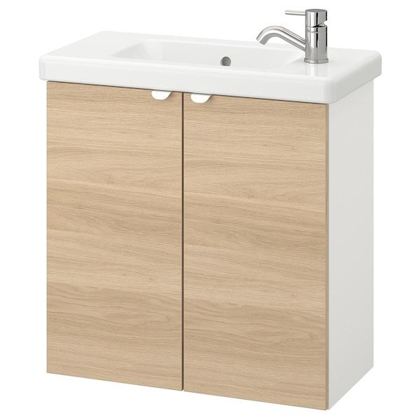 ENHET / TVÄLLEN Élément lavabo à 2 portes, motif chêne/blanc Pilkån mitigeur lavabo, 64x33x65 cm