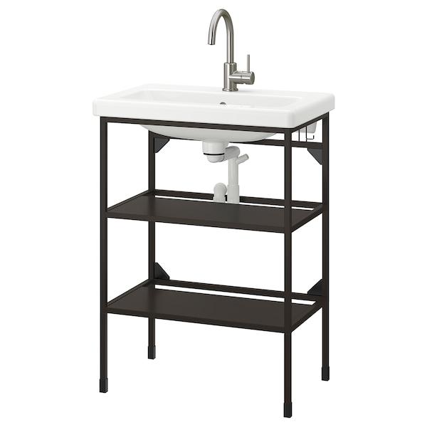 ENHET / TVÄLLEN Élément lavabo ouvert av 2 tbltes, anthracite/mitigeur Glypen, 64x43x87 cm