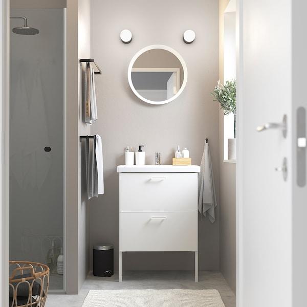 ENHET / TVÄLLEN Meuble lavabo 2tir, blanc/Pilkån mitigeur lavabo, 64x43x87 cm