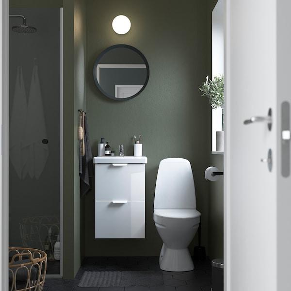 ENHET / TVÄLLEN Meuble lavabo 2tir, brillant blanc/blanc Pilkån mitigeur lavabo, 44x43x65 cm