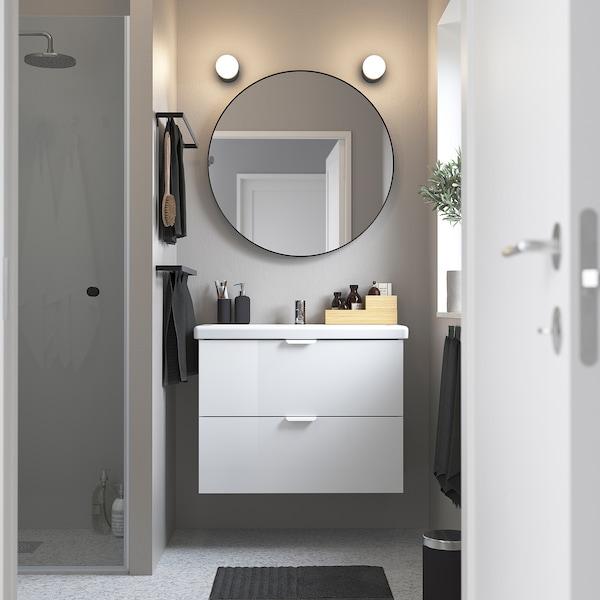 ENHET / TVÄLLEN Meuble lavabo 2tir, brillant blanc/blanc Pilkån mitigeur lavabo, 84x43x65 cm