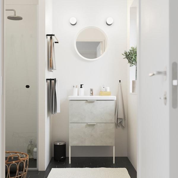 ENHET / TVÄLLEN Meuble lavabo 2tir, imitation ciment/blanc Pilkån mitigeur lavabo, 64x43x87 cm