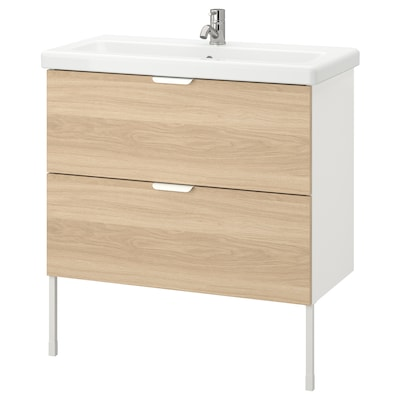 ENHET / TVÄLLEN Meuble lavabo 2tir, motif chêne/blanc Pilkån mitigeur lavabo, 84x43x87 cm