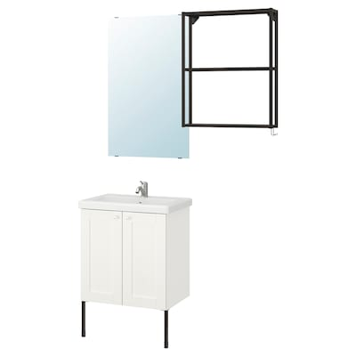 ENHET / TVÄLLEN Mobilier salle de bain, 11 pièces, blanc avec cadre/anthracite Lillsvan mitigeur lavabo, 64x43x87 cm