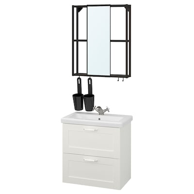ENHET / TVÄLLEN Mobilier salle de bain, 13 pièces, blanc avec cadre/anthracite Runskär mitigeur lavabo, 64x43x65 cm