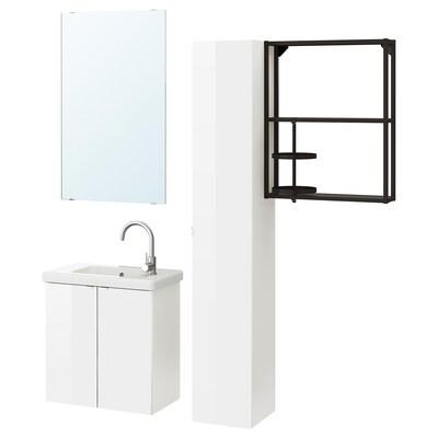 ENHET / TVÄLLEN Mobilier salle de bain, 13 pièces, brillant blanc/blanc mitigeur Glypen, 64x33x65 cm