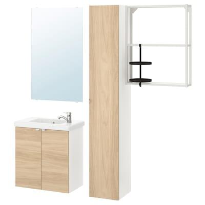 ENHET / TVÄLLEN Mobilier salle de bain, 13 pièces, motif chêne/blanc Pilkån mitigeur lavabo, 64x33x65 cm