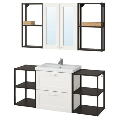 ENHET / TVÄLLEN Mobilier salle de bain, 18 pièces, blanc avec cadre/anthracite Lillsvan mitigeur lavabo, 140x43x65 cm