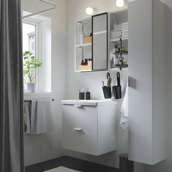 ENHET / TVÄLLEN Mobilier salle de bain, 18 pièces, brillant blanc/blanc mitigeur Glypen, 64x43x65 cm