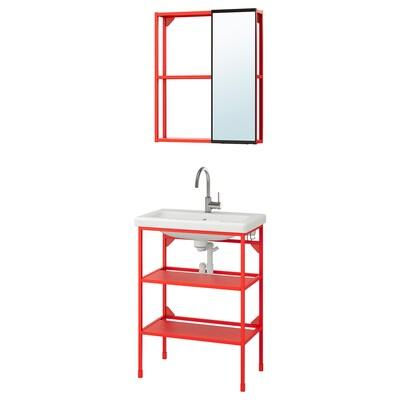 ENHET / TVÄLLEN Mobilier salle de bain, 9 pièces, rouge orange/mitigeur Glypen, 64x43x87 cm