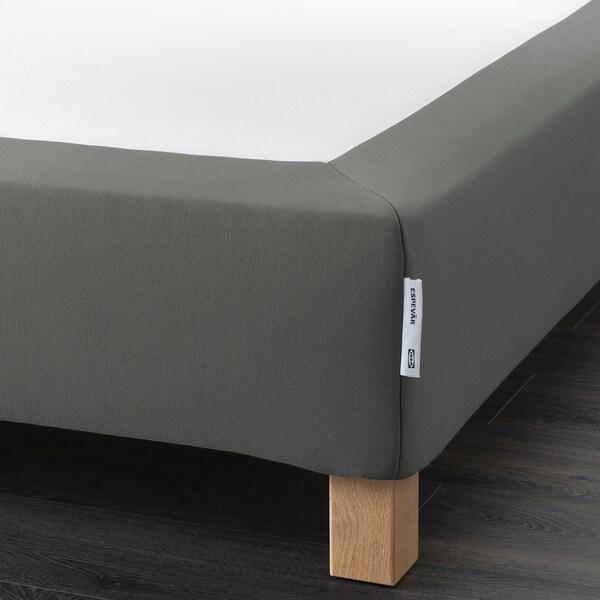 ESPEVÄR Sommier à ressorts avec pieds, gris foncé, 180x200 cm