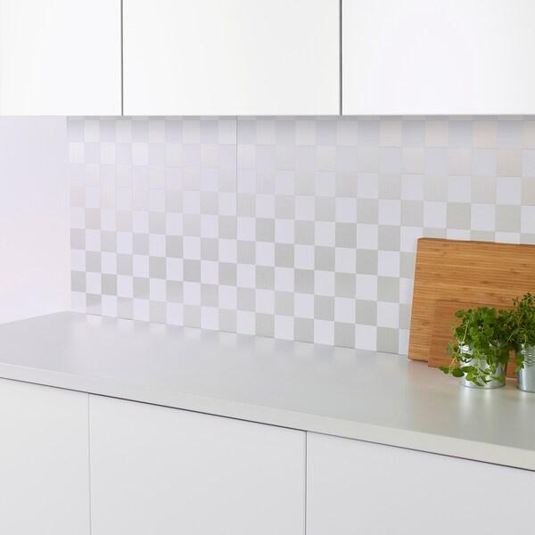 FAGERFORS Revêtement mural, effet mosaïque blanc/aluminium, 60x66 cm