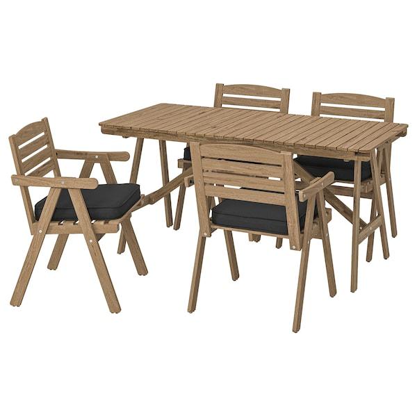 FALHOLMEN Table+4 chaises accoud, extérieur, teinté brun clair/Järpön/Duvholmen anthracite