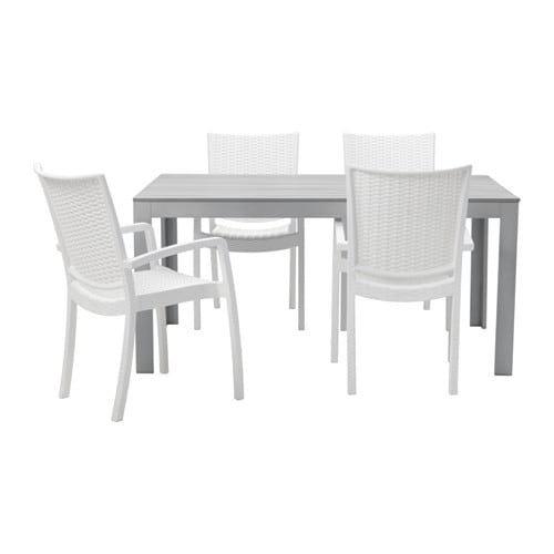 Falster innamo table 4 chaises accoud ext rieur gris for Mobilier exterieur ikea