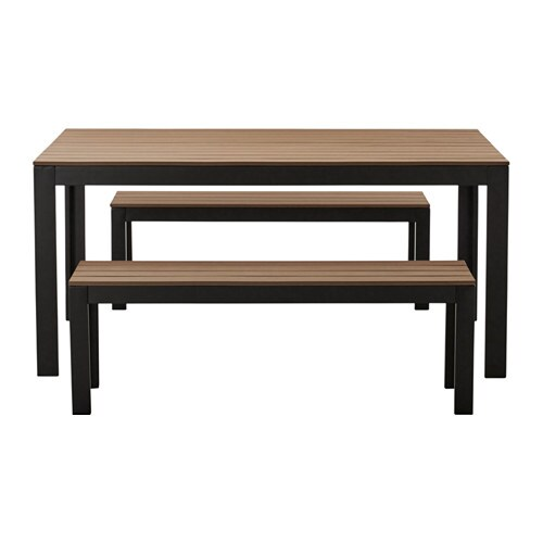 Falster table 2 bancs ext rieur noir brun ikea for Table exterieur noire