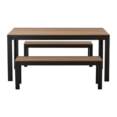 Falster table 2 bancs ext rieur noir brun ikea - Salon exterieur ikea ...