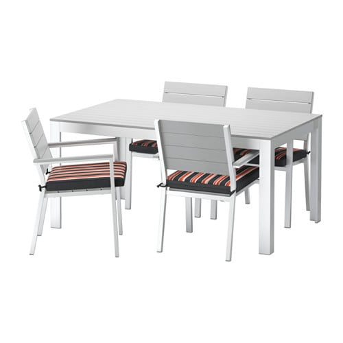 Falster table 4 chaises accoud ext rieur falster gris for Mobilier exterieur ikea