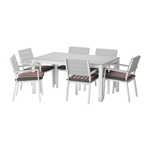 Falster table 6 chaises accoud ext rieur falster gris for Mobilier exterieur ikea