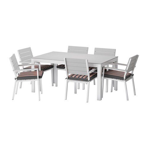 Falster table 6 chaises accoud ext rieur falster gris eker n noir ikea - Salon exterieur ikea ...