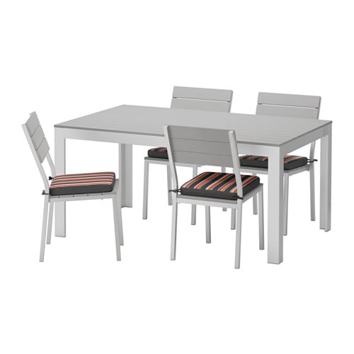 Falster table 4 chaises ext rieur falster gris eker n for Mobilier exterieur ikea