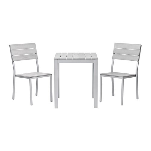 falster table 2 chaises ext rieur gris ikea. Black Bedroom Furniture Sets. Home Design Ideas
