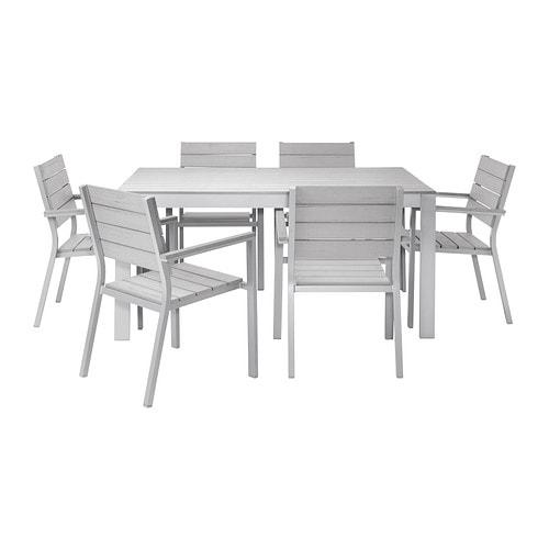 Falster table 6 chaises accoud ext rieur gris ikea for Repas familial ikea