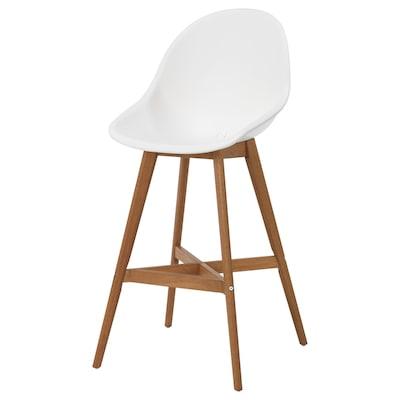 FANBYN Chaise de bar, blanc/intérieur/extérieur, 64 cm