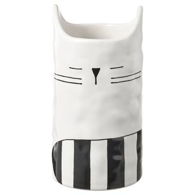 FÅTALIG Vase, chat blanc cassé, 12 cm