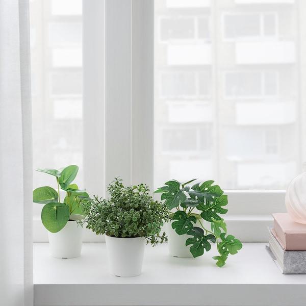 FEJKA Plante artifici av pot, lot de 3, intérieur/extérieur vert, 6 cm