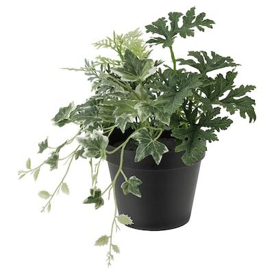 FEJKA Plante artificielle en pot, intérieur/extérieur/composition vert, 12 cm