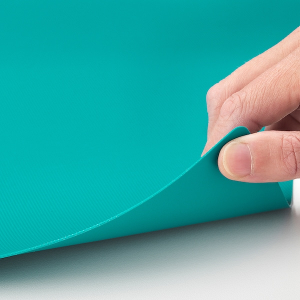 FINFÖRDELA Planche à découper flexible, gris foncé/turquoise foncé, 28x36 cm