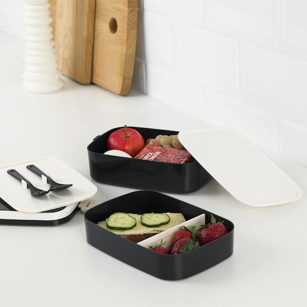 FLOTTIG Boîte repas, noir/blanc, 21x13x10 cm
