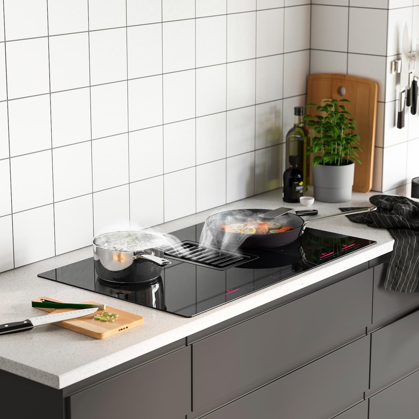 Hotte Sortant Du Plan De Travail fÖrdelaktig table de cuisson av hotte intégrée - noir 83 cm