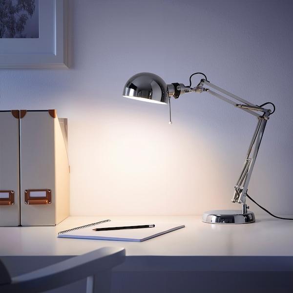 FORSÅ Lampe de bureau, nickelé