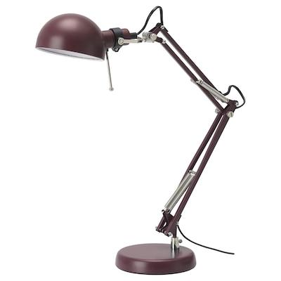 FORSÅ Lampe de bureau, rouge foncé