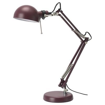 FORSÅ lampe de bureau rouge foncé 35 cm 15 cm 12 cm 1.8 m