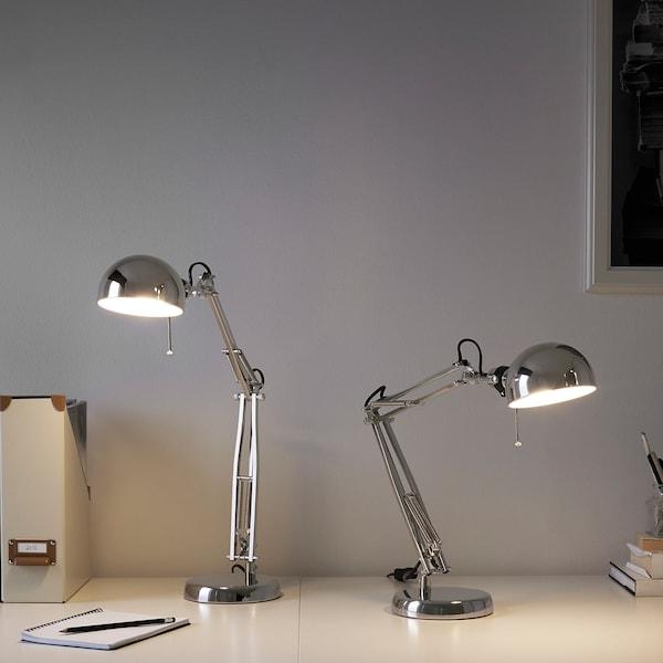 FORSÅ lampe de bureau nickelé 40 W 35 cm 15 cm 12 cm 1.8 m