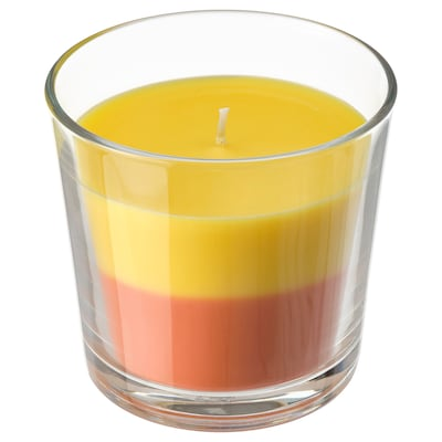 FORTGÅ Bougie parfumée dans verre, Bananes/orange/jaune, 9 cm
