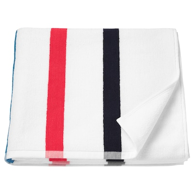 FOSKÅN Drap de bain, blanc/multicolore, 70x140 cm