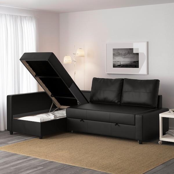 FRIHETEN Canapé convertible angle+rangement, Bomstad noir