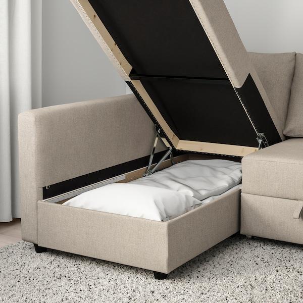 FRIHETEN Canapé convertible angle+rangement, Hyllie beige